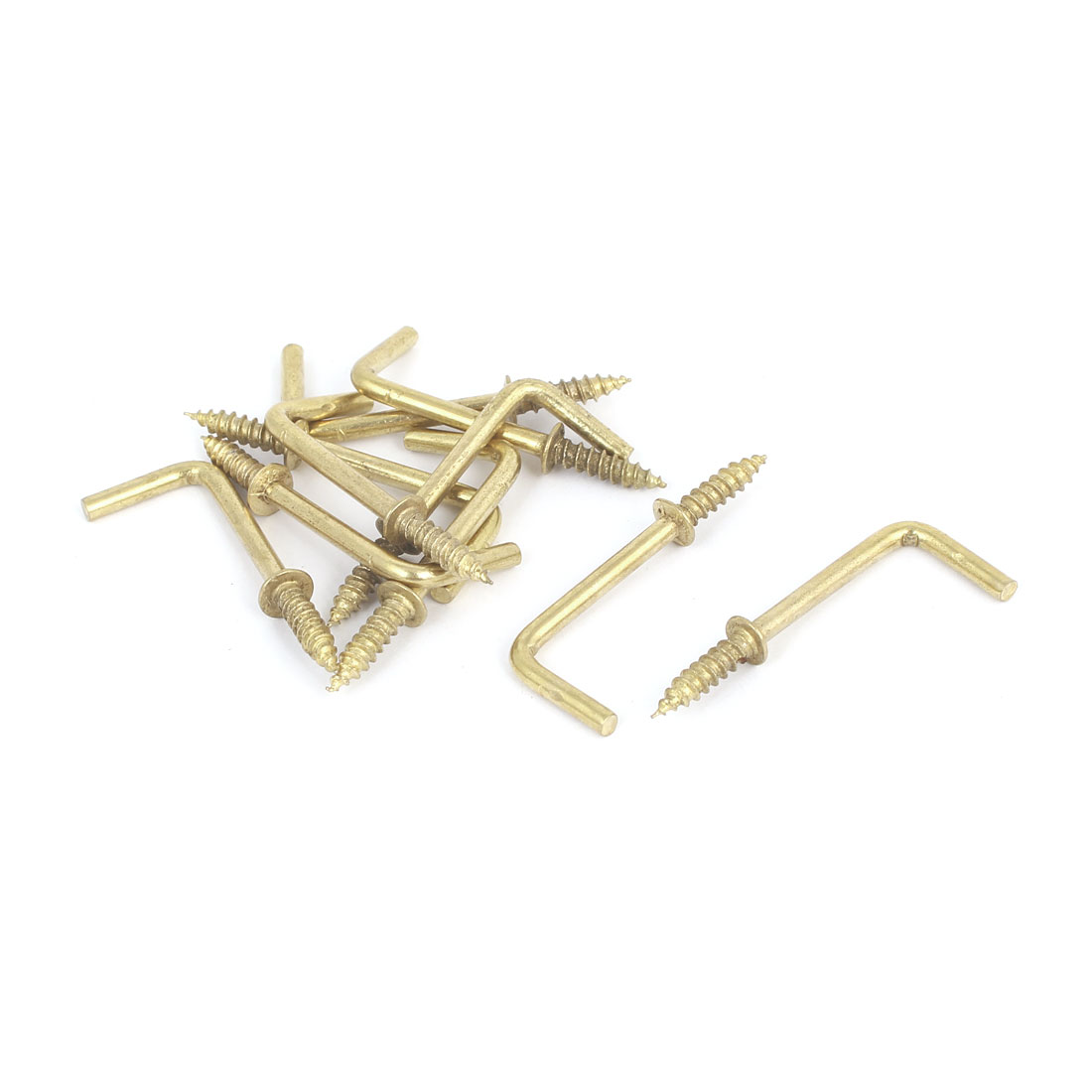 39mm x 14mm L Shaped Shoulder Screw Dresser Dress Cup Hook Hanging Hanger 10PCS