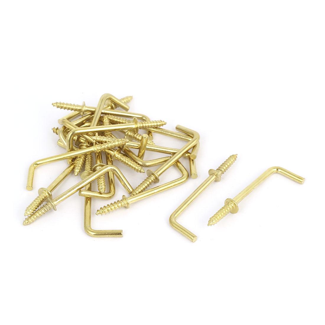 47mm x 16mm x 3mm L Shaped Shoulder Straight Dresser Cup Hook Hanger 20PCS