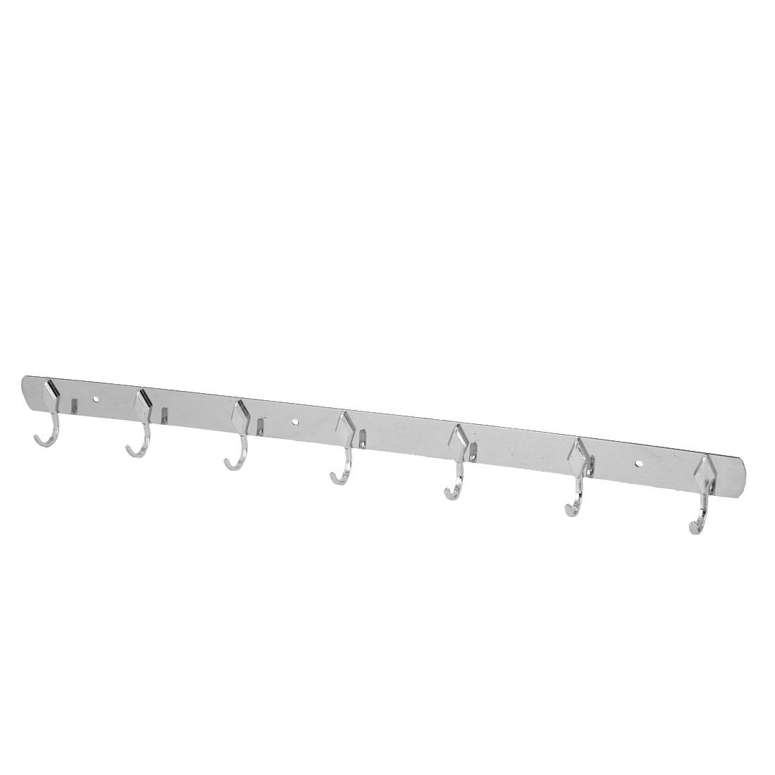 Bathroom Wardrobe Clothes Towel Bag 7 Hooks Stainless Steel Wall Hanging Hook