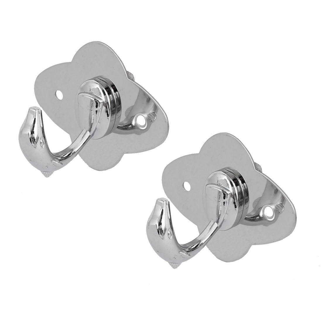 Bathroom Clothes Coat Single Hook Dolphin Shape Stainless Steel Wall Hanger 2pcs