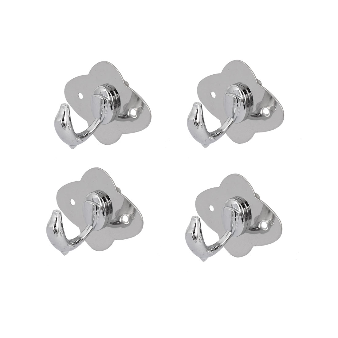 Bathroom Clothes Coat Single Hook Dolphin Shape Stainless Steel Wall Hanger 4pcs
