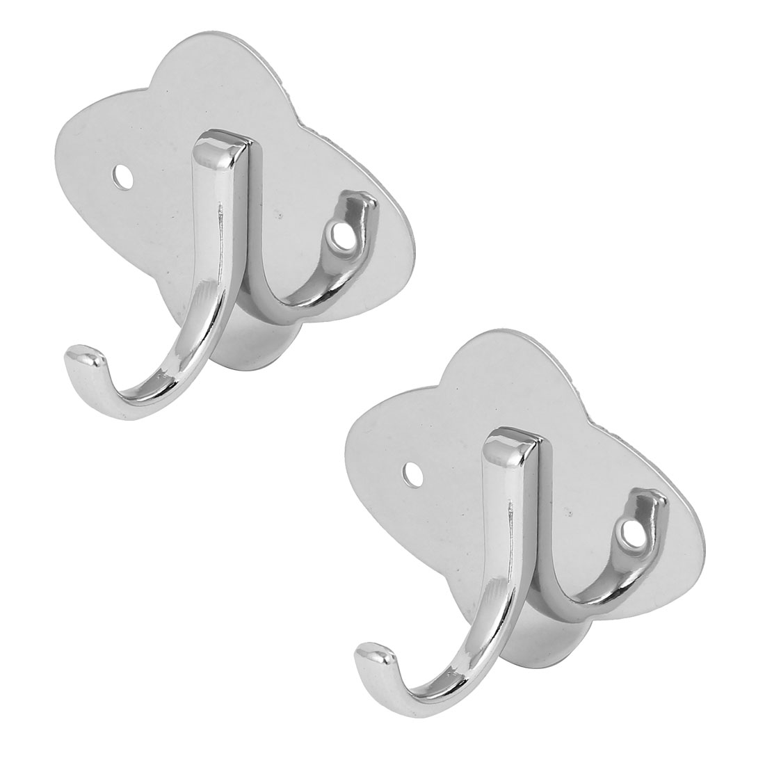 Foyer Bathroom Door Bag Key Single Hanger Stainless Steel Wall Mount Hook Silver Tone 2pcs