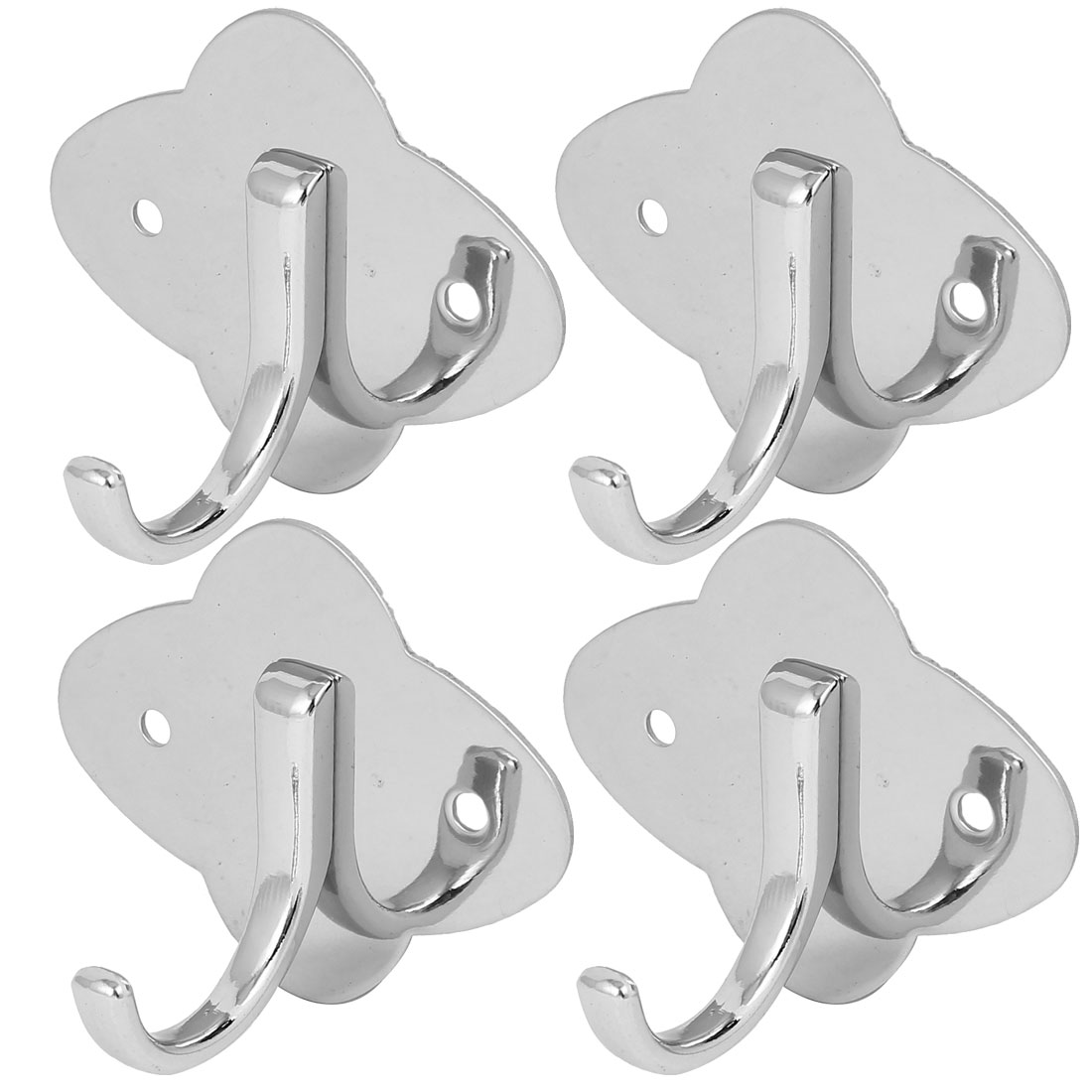 Foyer Bathroom Door Bag Key Single Hanger Stainless Steel Wall Mount Hook Silver Tone 4pcs