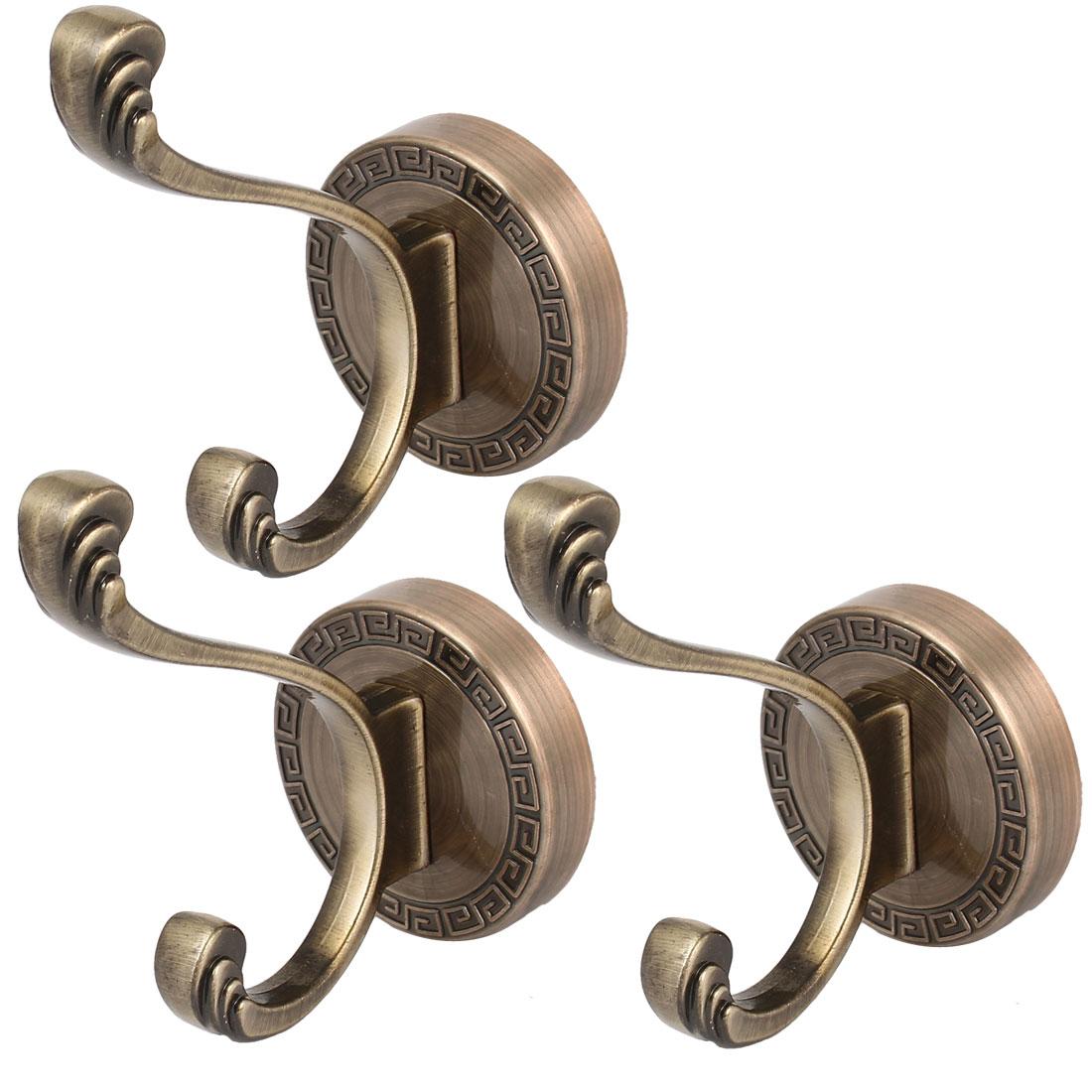 Household Coat Towel Metal Wall Mount Hanger Double Hook Bronze Tone 3pcs