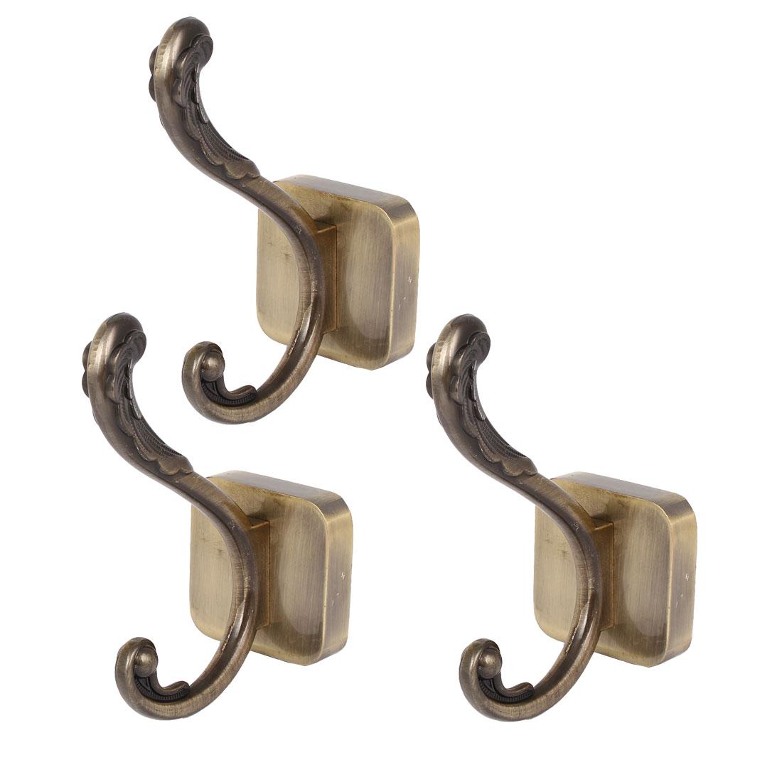 Home Coat Handbag Towel Metal Wall Mount Hanger Double Hook Bronze Tone 3pcs