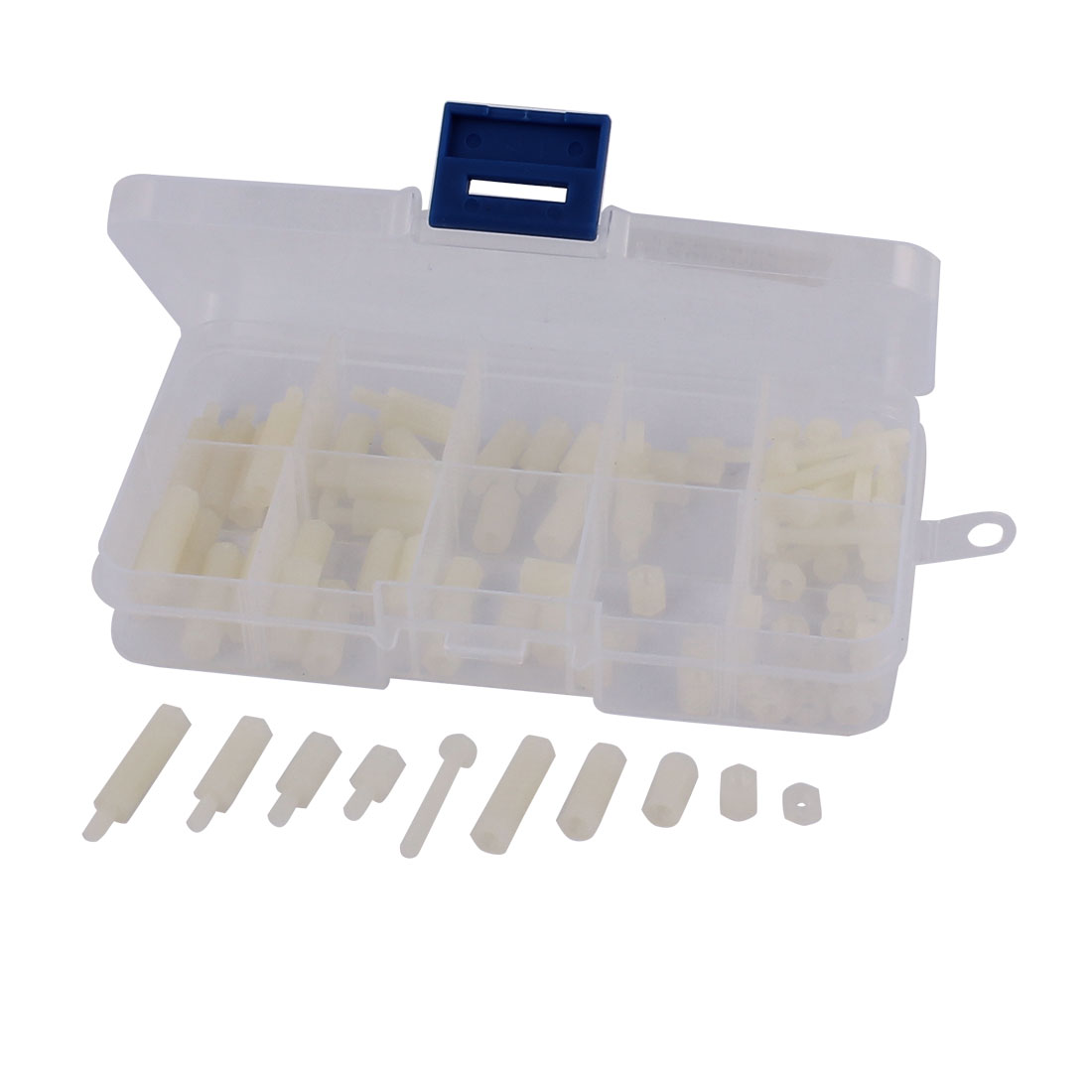 88pcs M3 White Nylon Hex Spacers Screw Nut Stand-off Plastic Assortment Kit