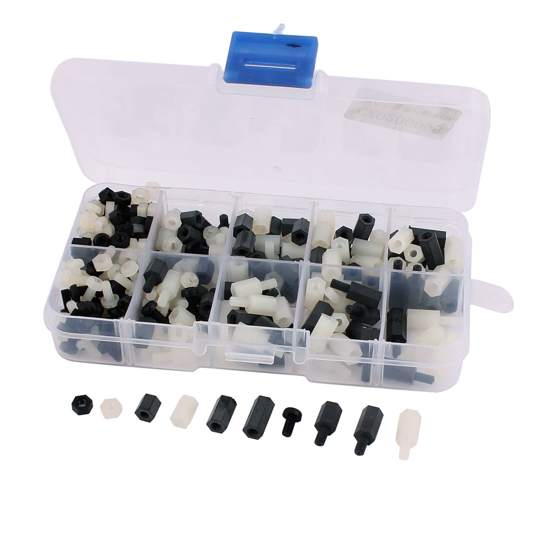 300pcs M3 Nylon Hex Spacer Screw Nut Stand-off Assortment Kit Black+White
