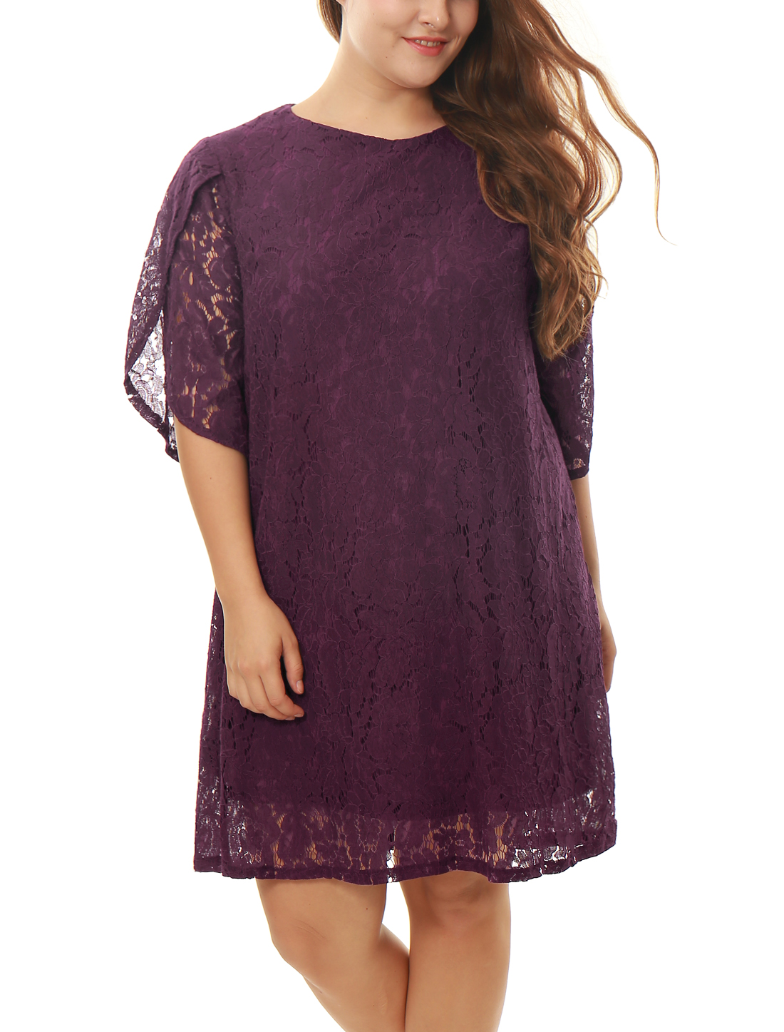 Women Plus Size Tulip Sleeves Floral Lace Shift Dress Burgundy 2X