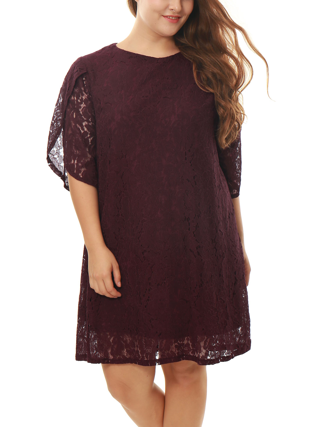 Women Plus Size Tulip Sleeves Floral Lace Shift Dress Purple 3X
