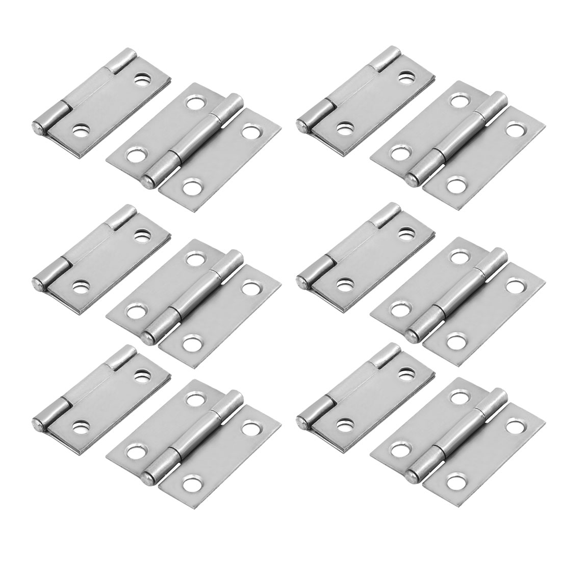 38mm Length Cupboard Cabinet Folding Iron Butt Hinge Silver Tone 12PCS
