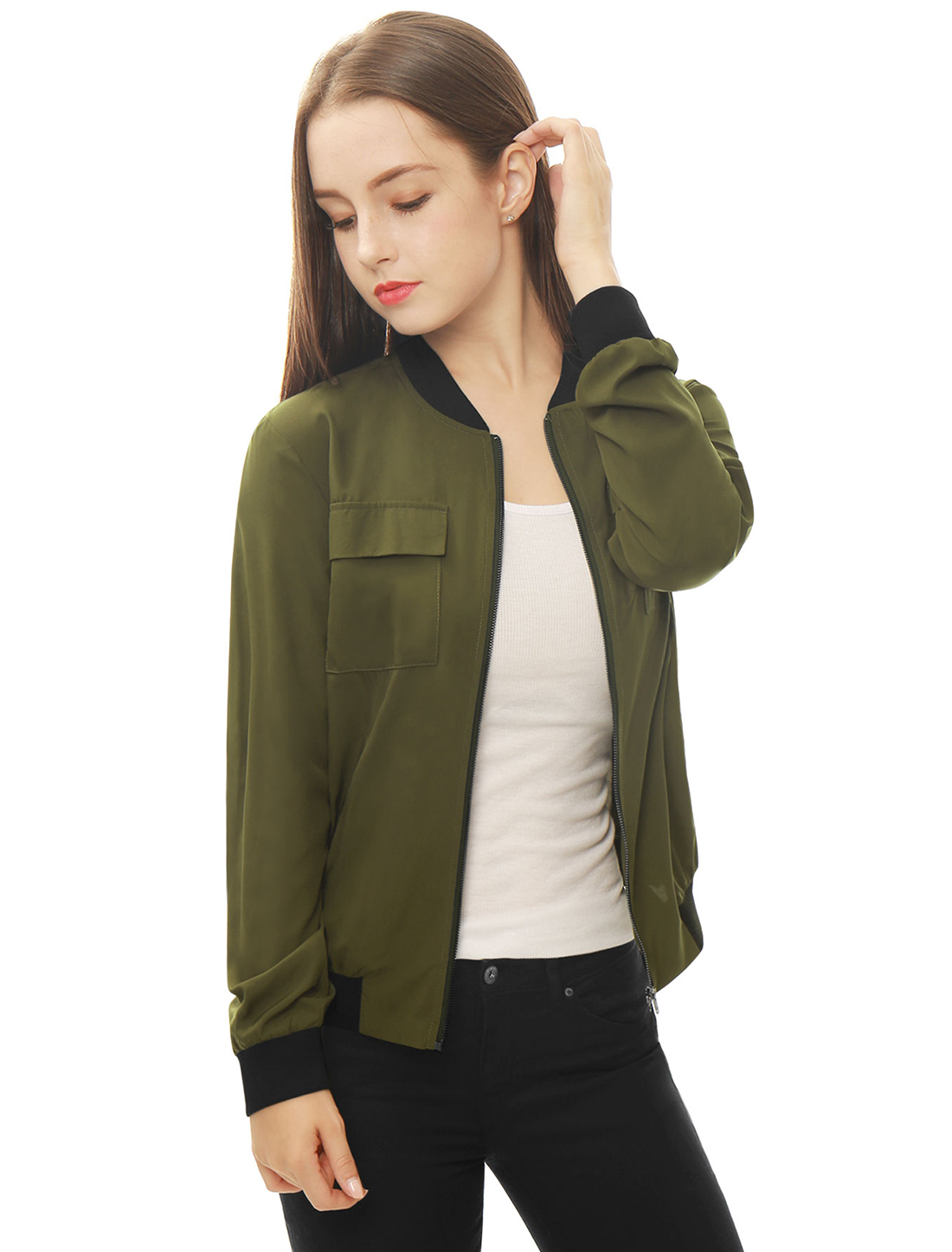 Women Multi-Pocket Zip Fastening Front Bomber Jacket Green L