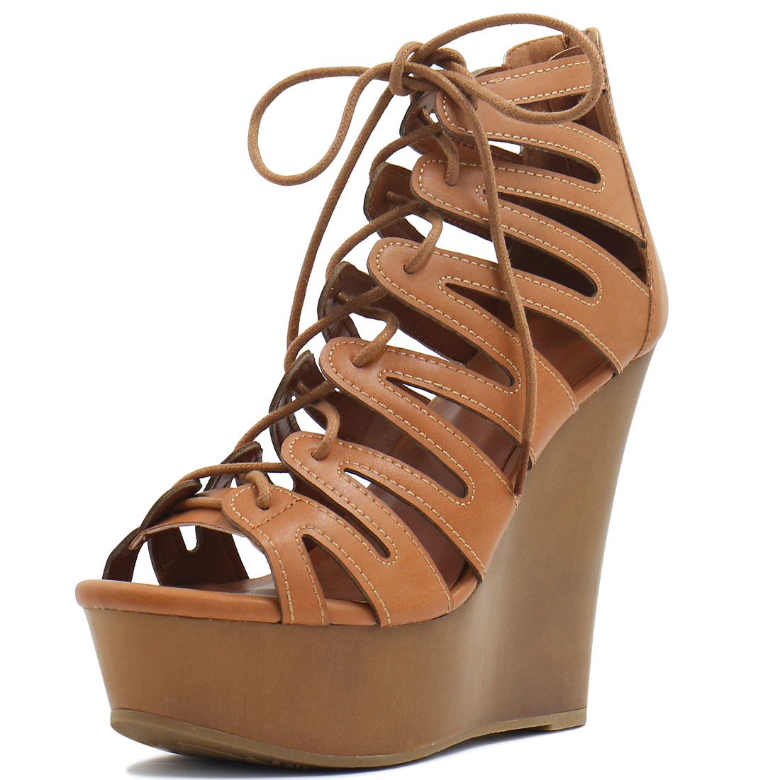 Woman Open Toe Lace-Up Cutout Platform Wedge Sandals Brown US 9