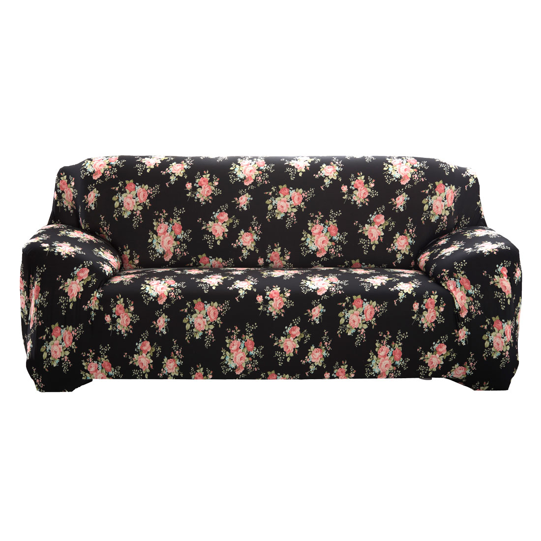 Household Polyester Rose Pattern Elastic Sofa Loveseat Cover Slipcover Protector 55-74 Inch
