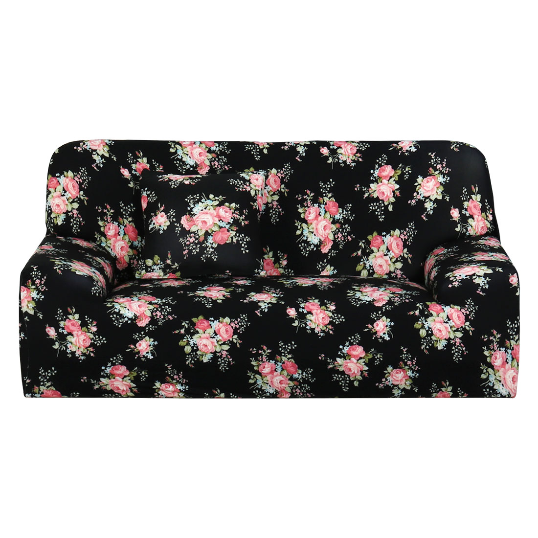 PiccoCasa Black Rose Prints 3 Seats Sofa Cover Slipcover Protector 76''-90''