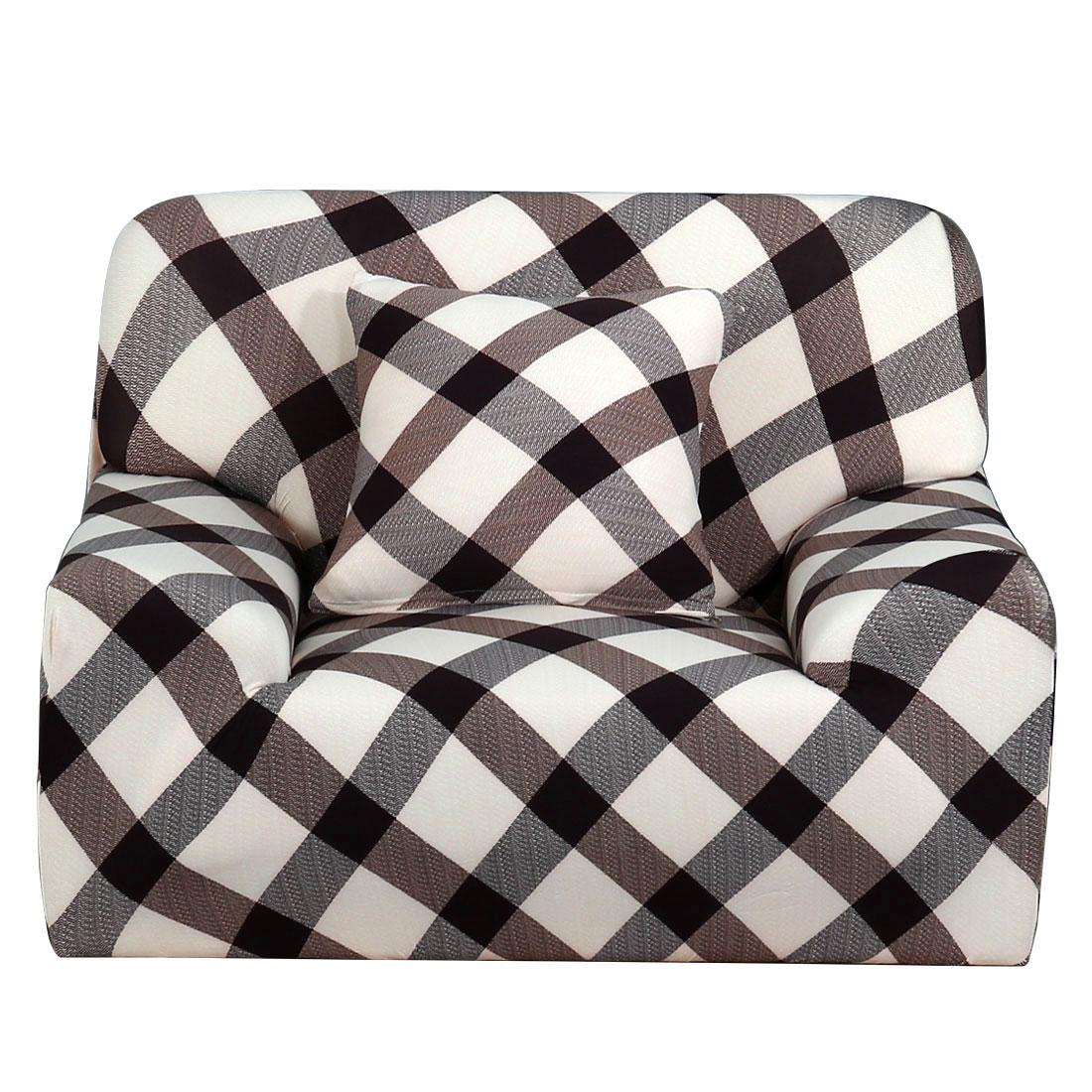 PiccoCasa Grid Pattern Elastic Sofa Chair Cover Slipcover Protector 35-55 Inch