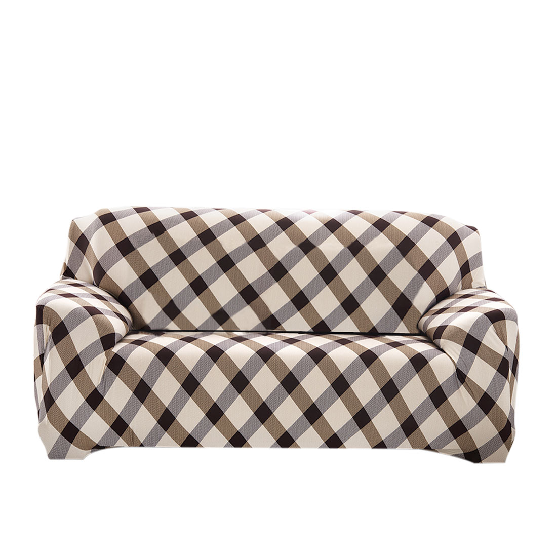 Household Polyester Grid Pattern Elastic Sofa Loveseat Cover Slipcover Protector 55-74 Inch