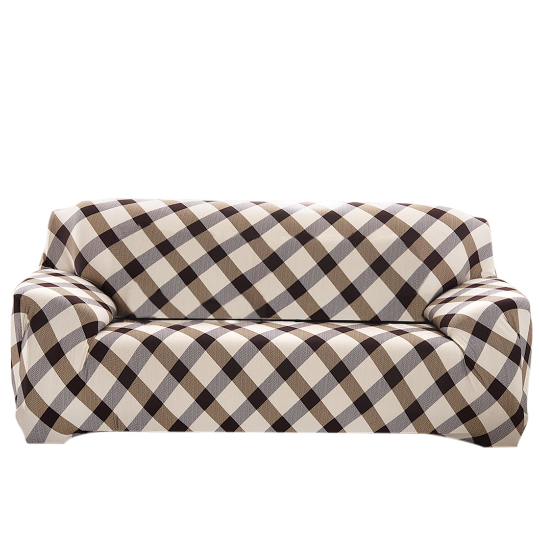 Household Polyester Grid Pattern Elastic 3 Seats Sofa Cover Slipcover Protector 74''-90''