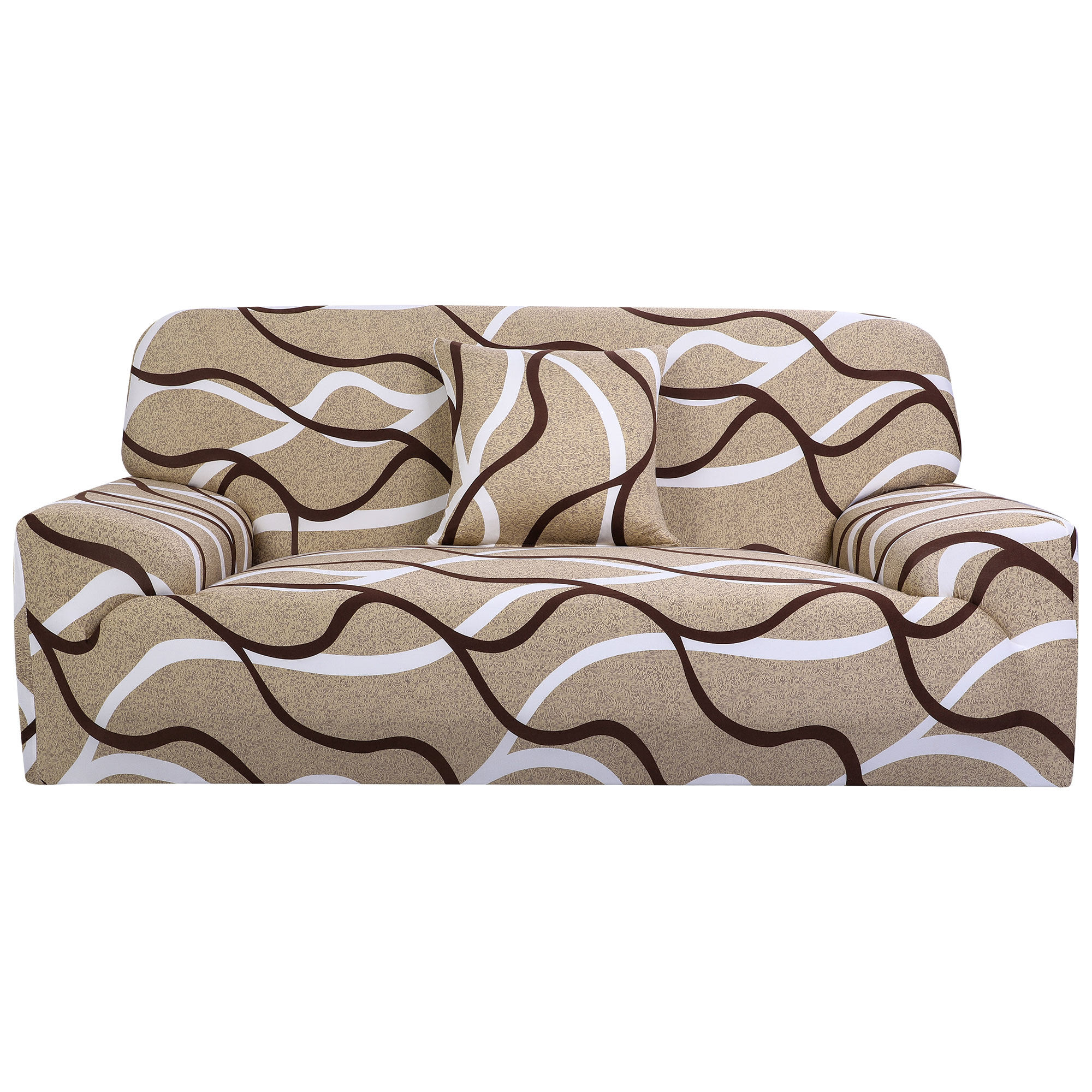 Household Polyester Geometric Pattern Elastic Sofa Loveseat Cover Slipcover Protector 55-74 Inch