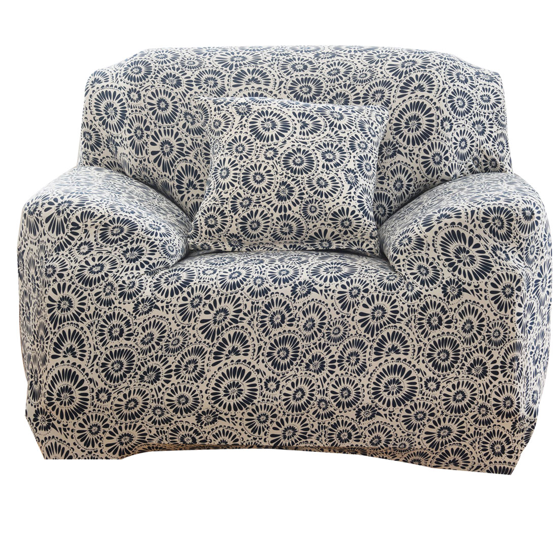 Household Polyester Ring Pattern Elastic 1 Seat Sofa Chair Cover Slipcover Protector 35-55 Inch