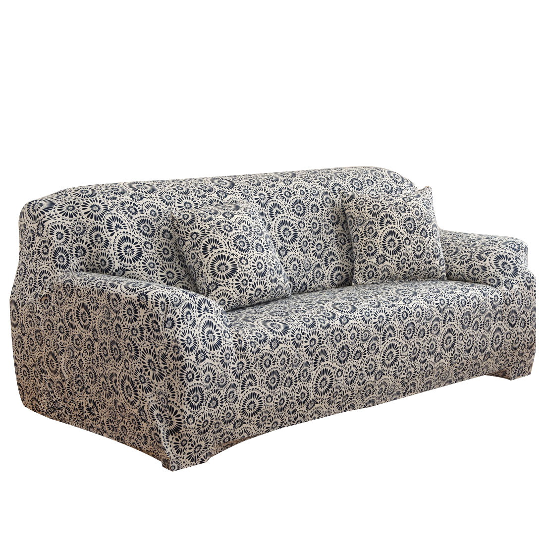 Household Polyester Ring Prints Elastic Sofa Loveseat Cover Slipcover Protector 55-74 Inch