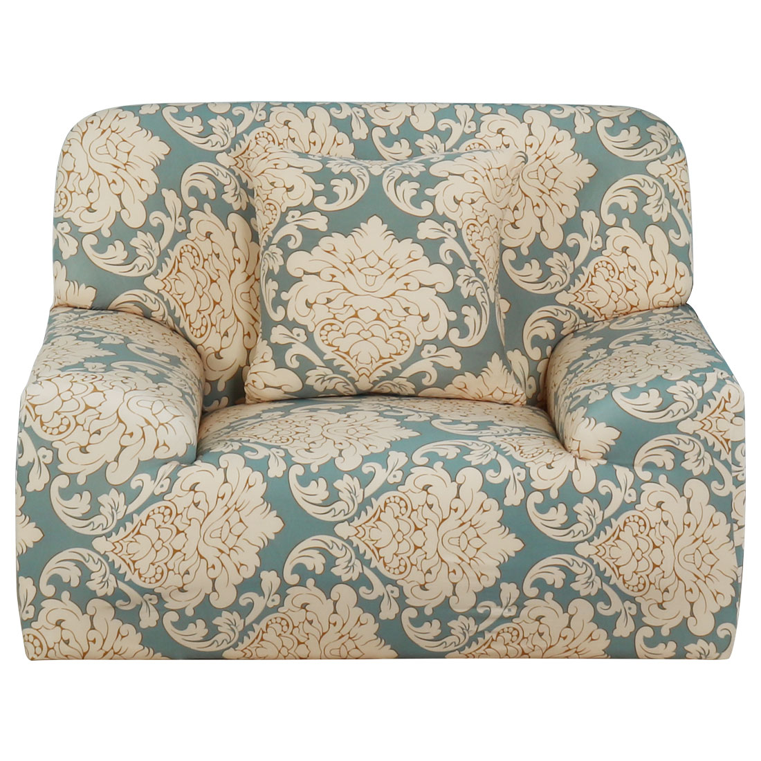 Household Polyester Leave Flower Pattern Elastic Sofa Chair Cover Slipcover Protector 35-55 Inch