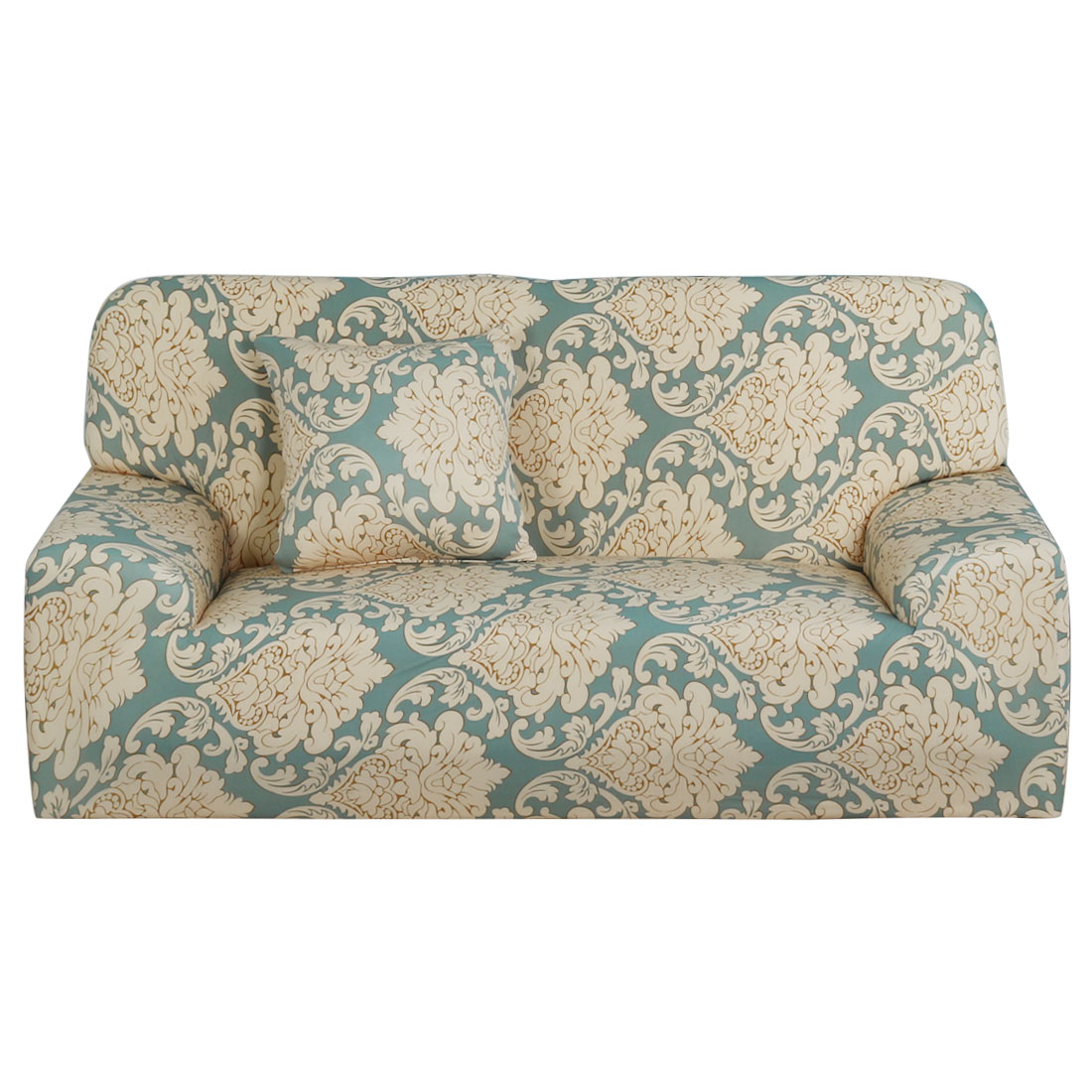 Household Polyester Leave Flower Pattern Elastic Sofa Loveseat Cover Slipcover Protector 55-74 Inch