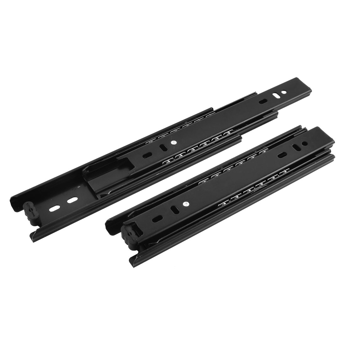 Furniture Drawer Telescopic 3-fold Sliding Rails Slides Black 38cm Long 2pcs