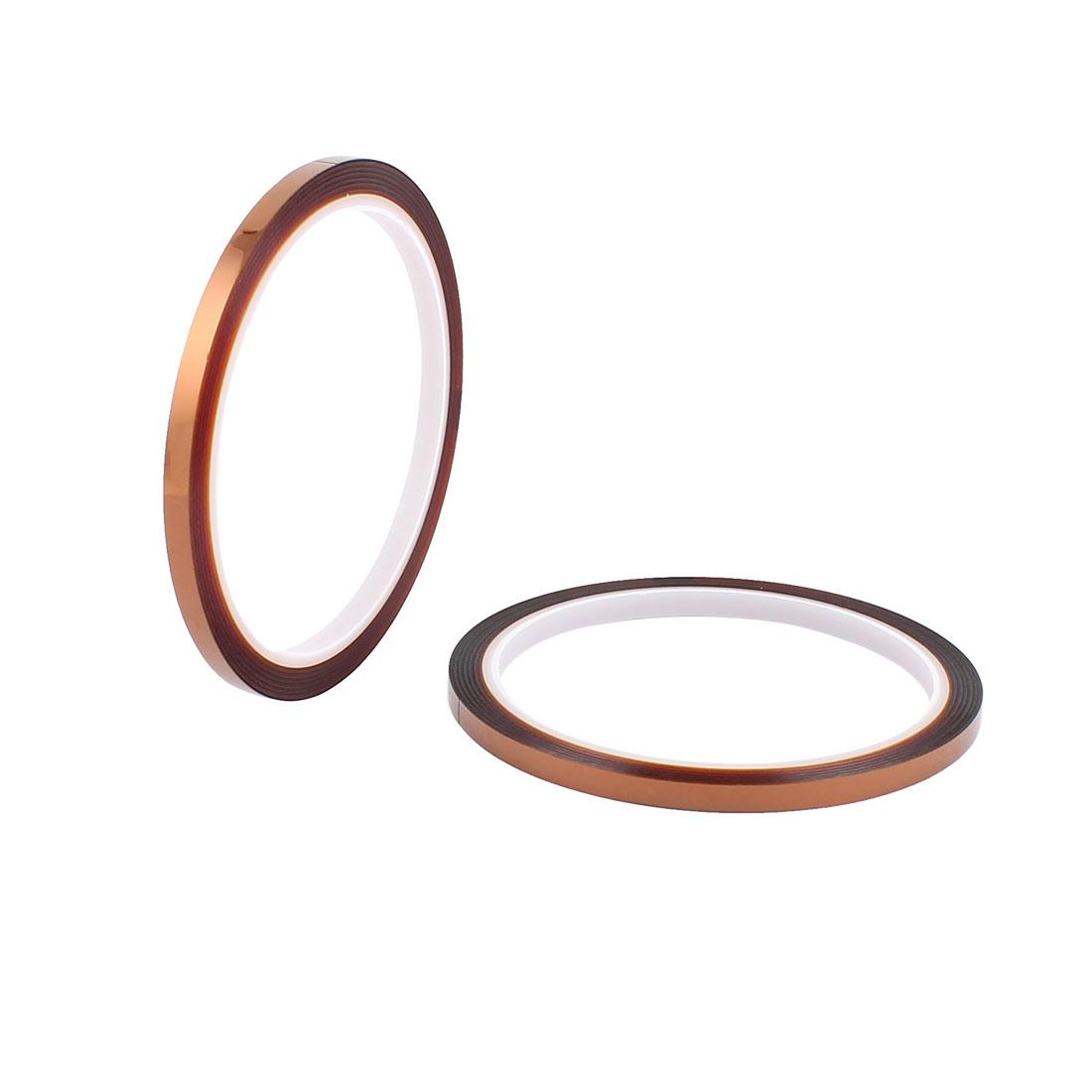 2 Pcs 0.5CM Width 33M Long DIY Tape High Temperature Resistant Polyimide