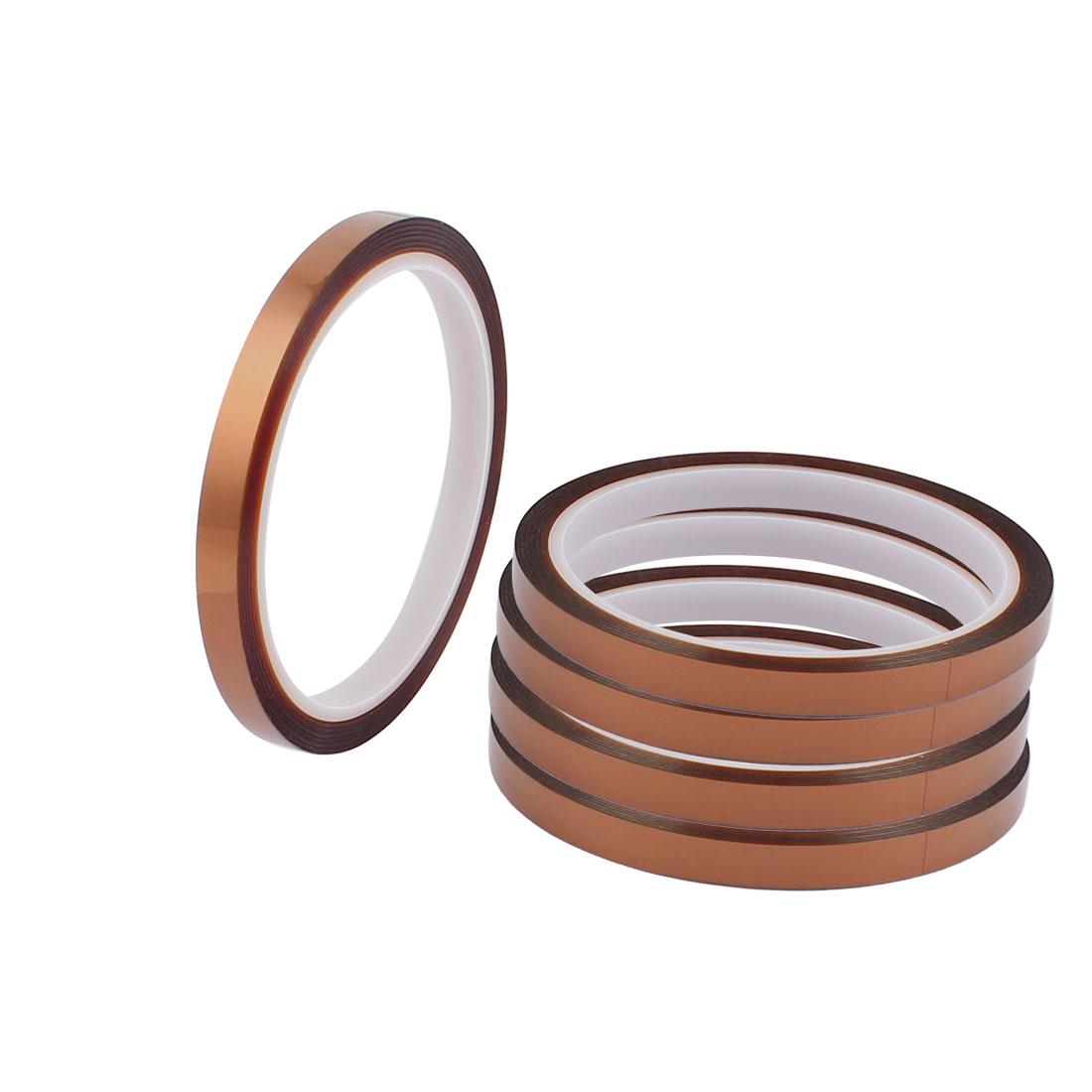 5 Pcs 0.8CM Width 33M Long DIY Tape High Temperature Heat Resistant Polyimide