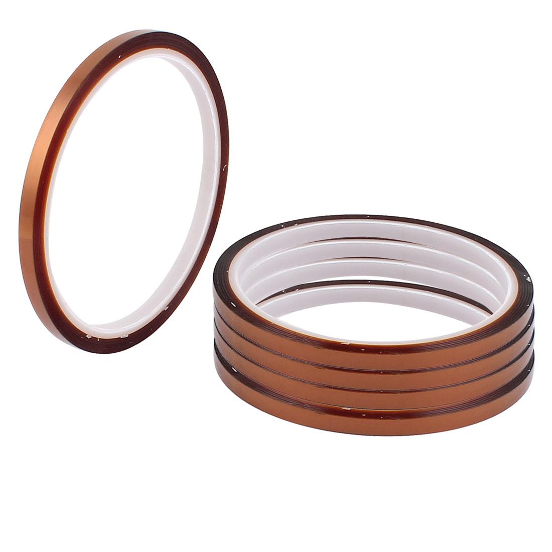 5 Pcs 0.5CM Width 30M Long DIY Tape High Temperature Heat Resistance Polyimide