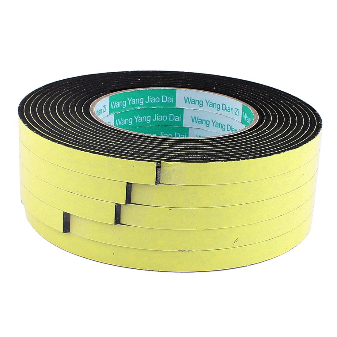 5 Pcs 1CM Width 4M Length 3MM Thick Single Sided Sealing Shockproof Sponge Tape