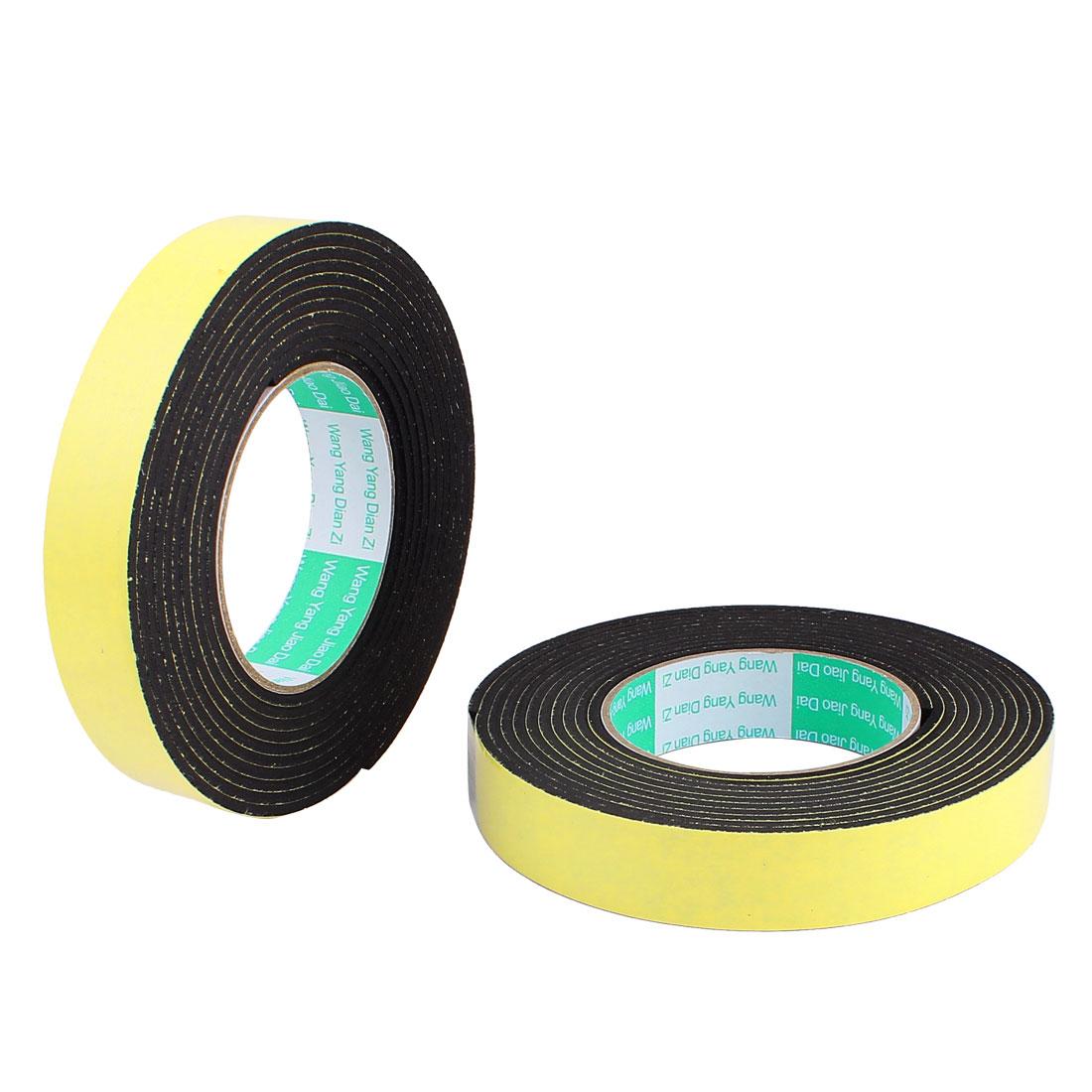 "2 Pcs 0.98""Width 13.12ft Length 3MM Thick Single Sided Sealing Shockproof Sponge Tape"