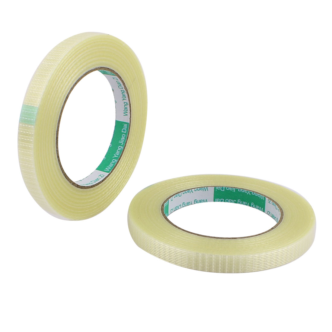 2 Pcs 12mm Height 50M Length Long Adhesive Insulating Grid Glass Fiber Tape Roll