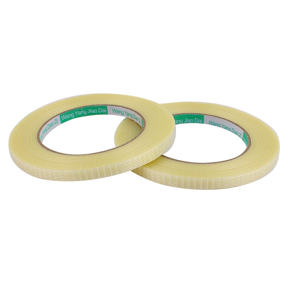 2 Pcs 8mm Height 50M Length Long Adhesive Insulating Grid Glass Fiber Tape Roll