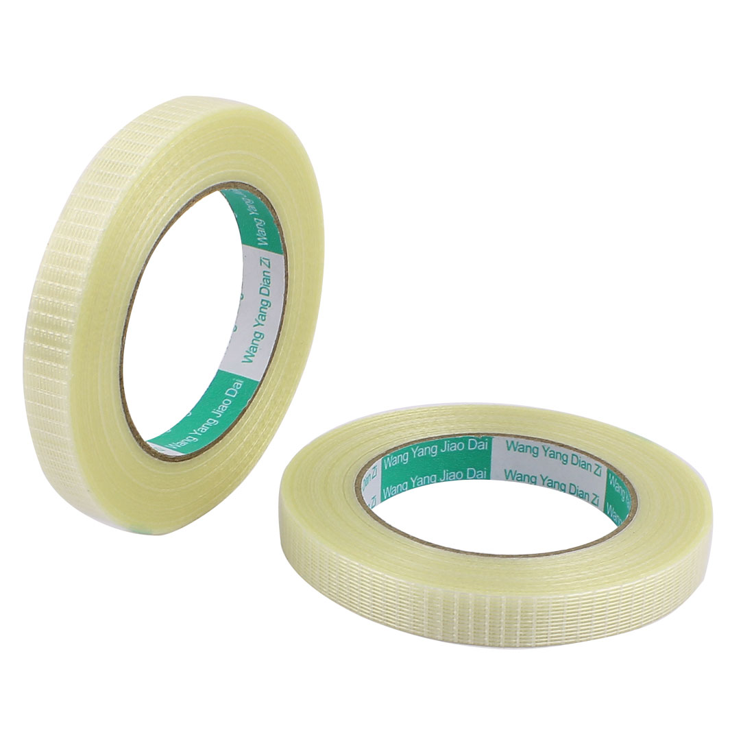 2 Pcs 15mm Height 50M Length Long Adhesive Insulating Grid Glass Fiber Tape Roll