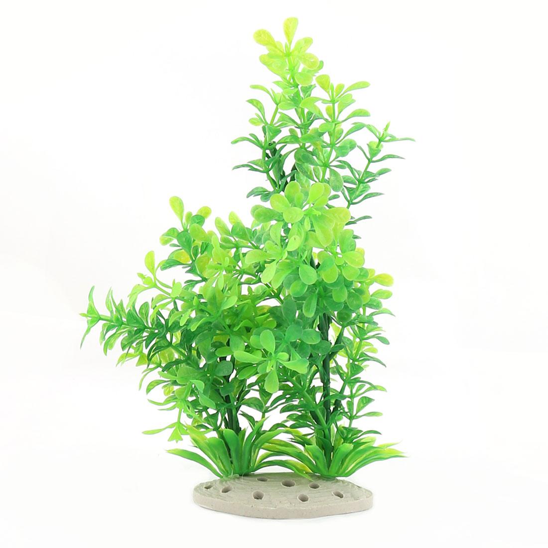 Aquarium Fish Tank Ceramic Base Plastic Artificial Fake Water Grass Plant Decor Green