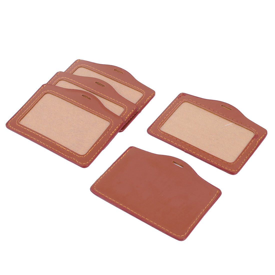 Faux Leather Work Business Student ID Name Card Badge Holder Pocket Brown 5 Pcs