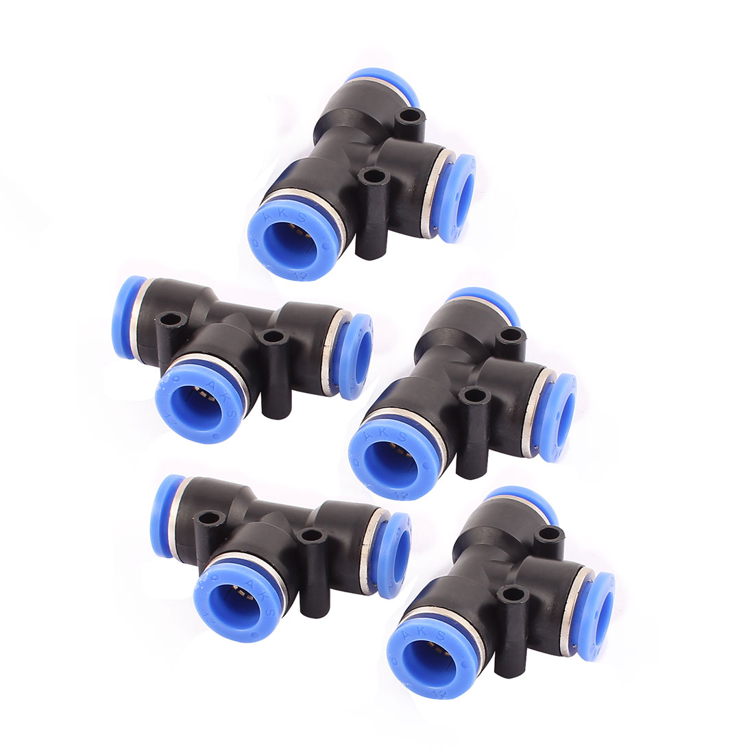 5 Pcs 12mm to 12mm T Shaped 3 Way Air Pneumatic Quick Fitting Coupler Black Blue