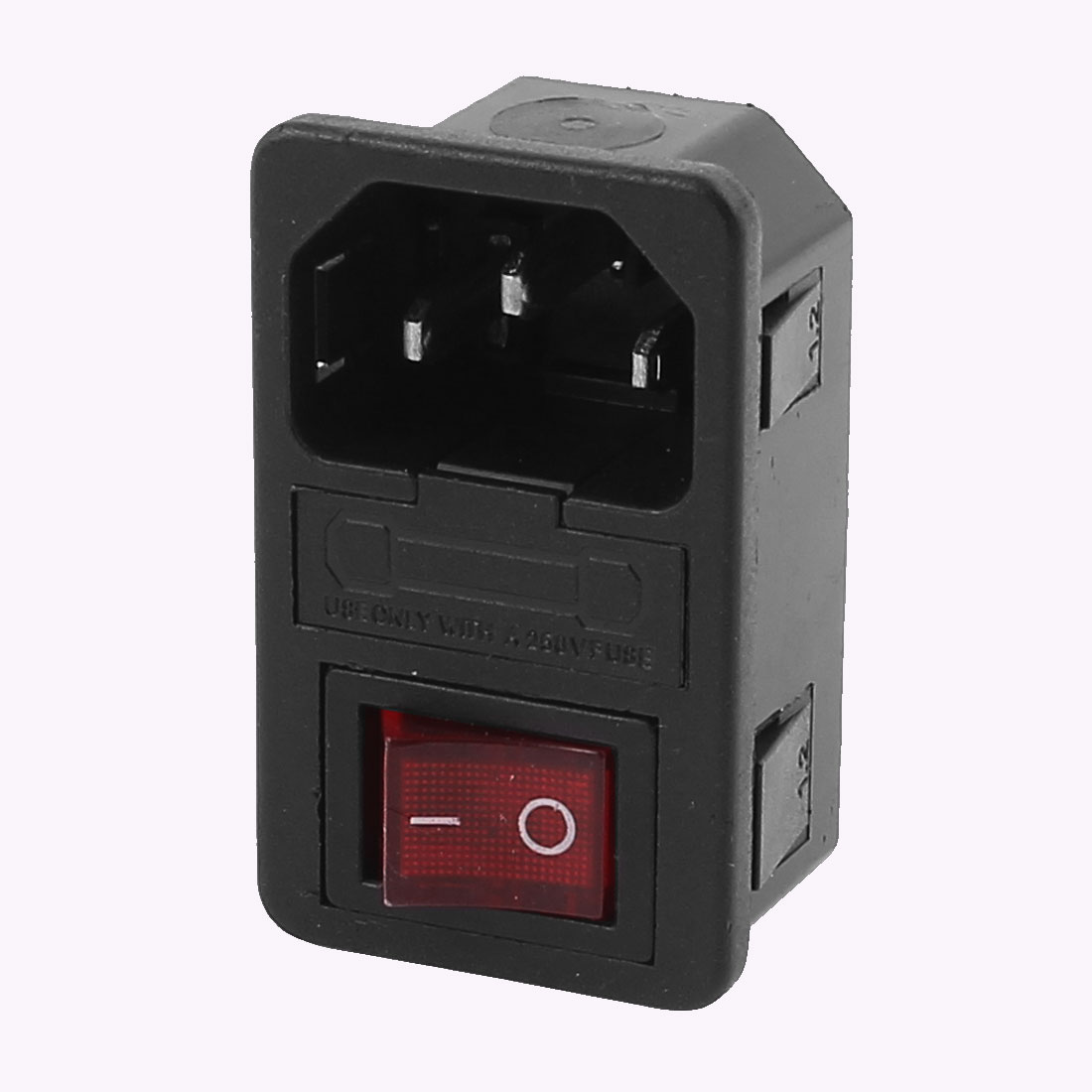 AC 250V 10A 4 Terminals Red LED Rocker Switch Inlet Power Socket w Fuse Holder