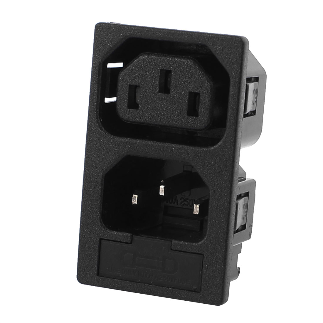 AC250V 10A 2 Way IEC C14 C13 Inlet Power Socket Adapter w Fuse Holder