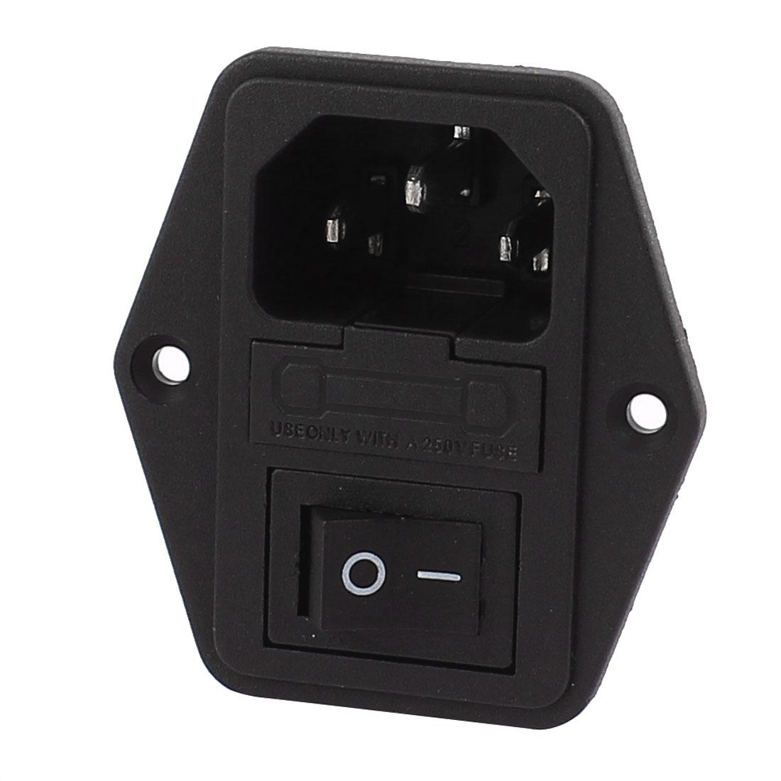 AC 250V 10A 2P Black Rocker Switch Fuse Holder Inlet Power Socket Screw Mount