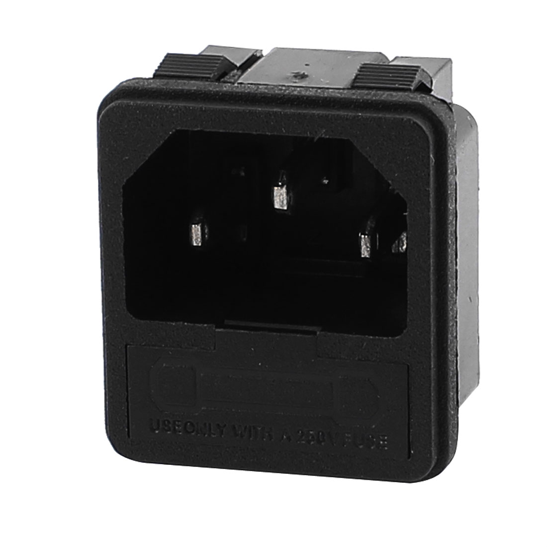 AC 250V 10A 3 Terminals Flush Type Inlet Power Socket w Fuse Holder