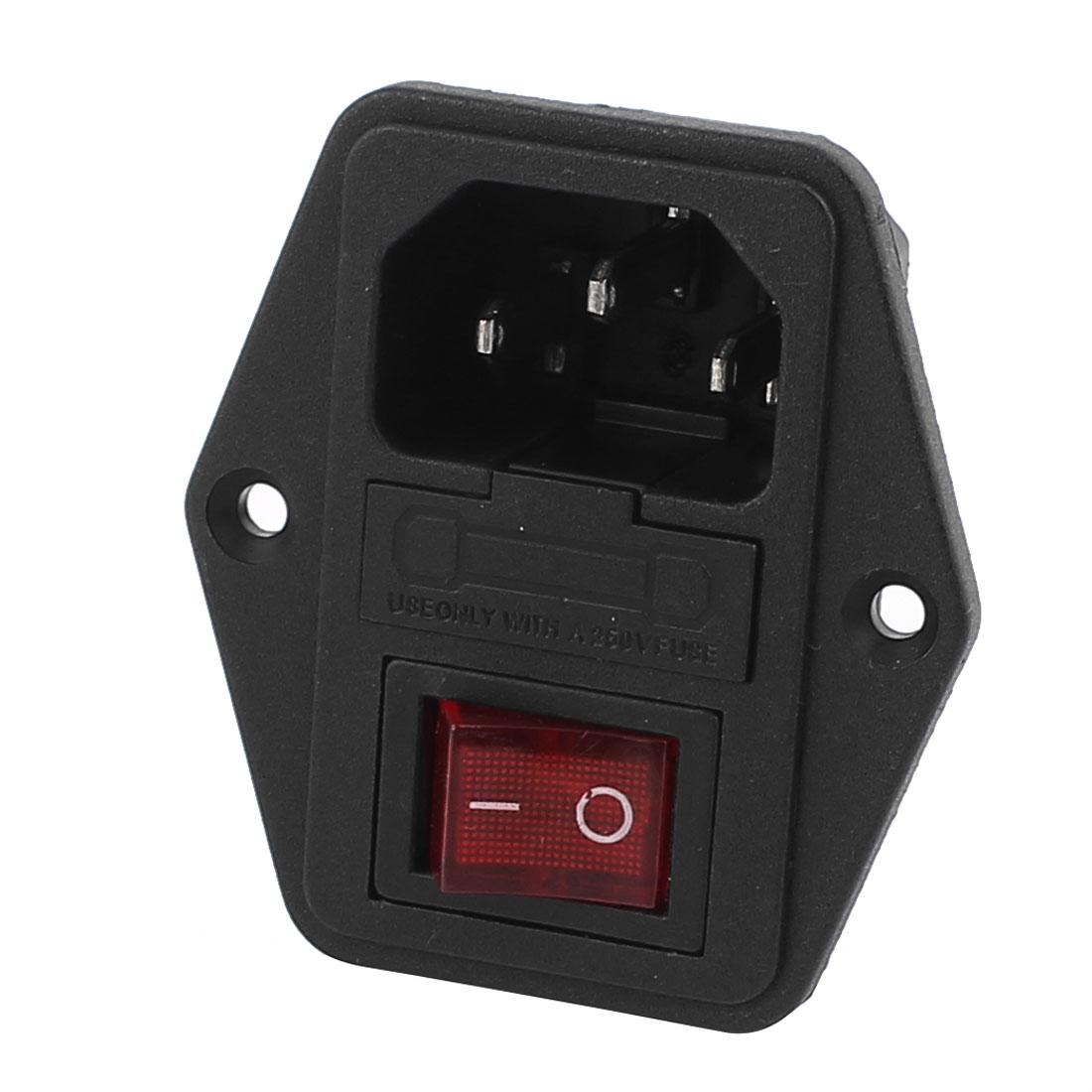 AC 250V 10A 4P Red LED Rocker Switch Fuse Holder Inlet Power Socket Screw Mount