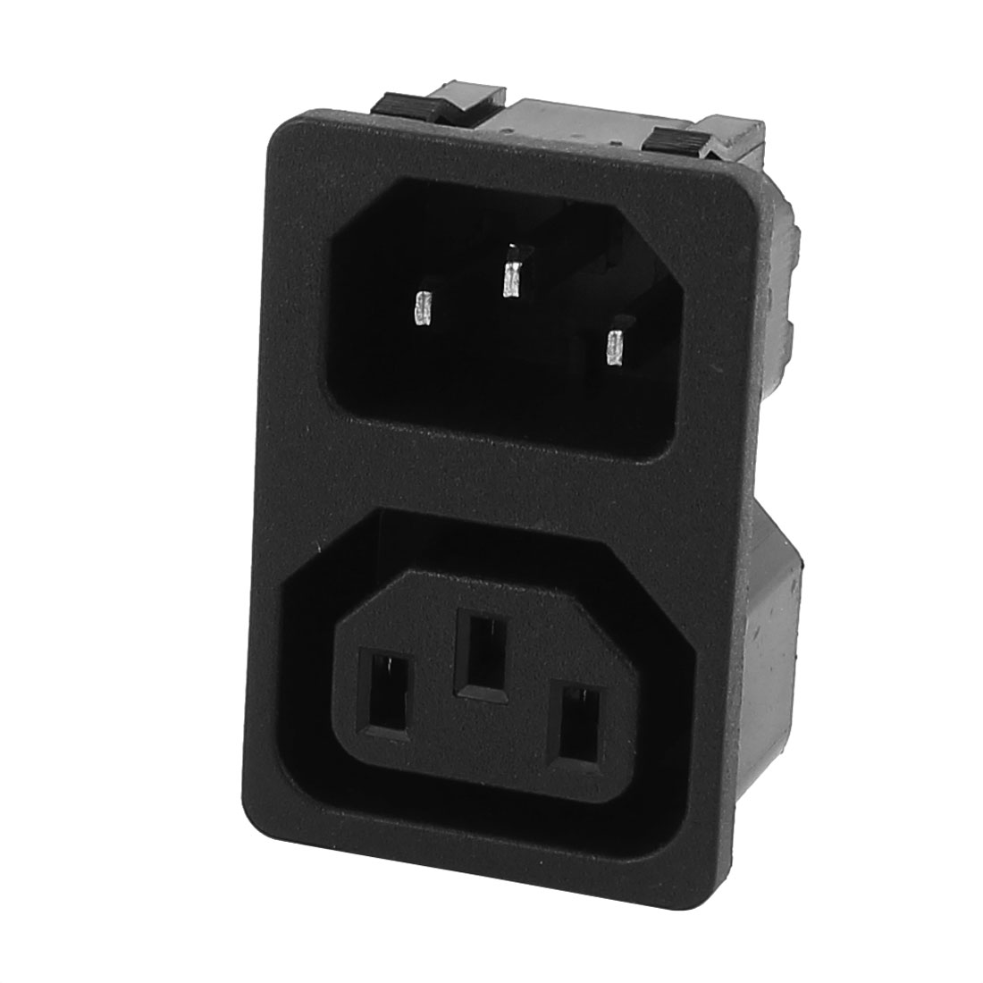 Black AC250V 10A 2 Way IEC C14 C13 Inlet Power Socket Adapter
