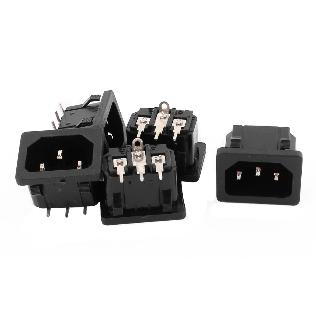 5Pcs AC 250V 10A 90 Degrees 3 Terminals Inlet Power Socket Adapter Convertor