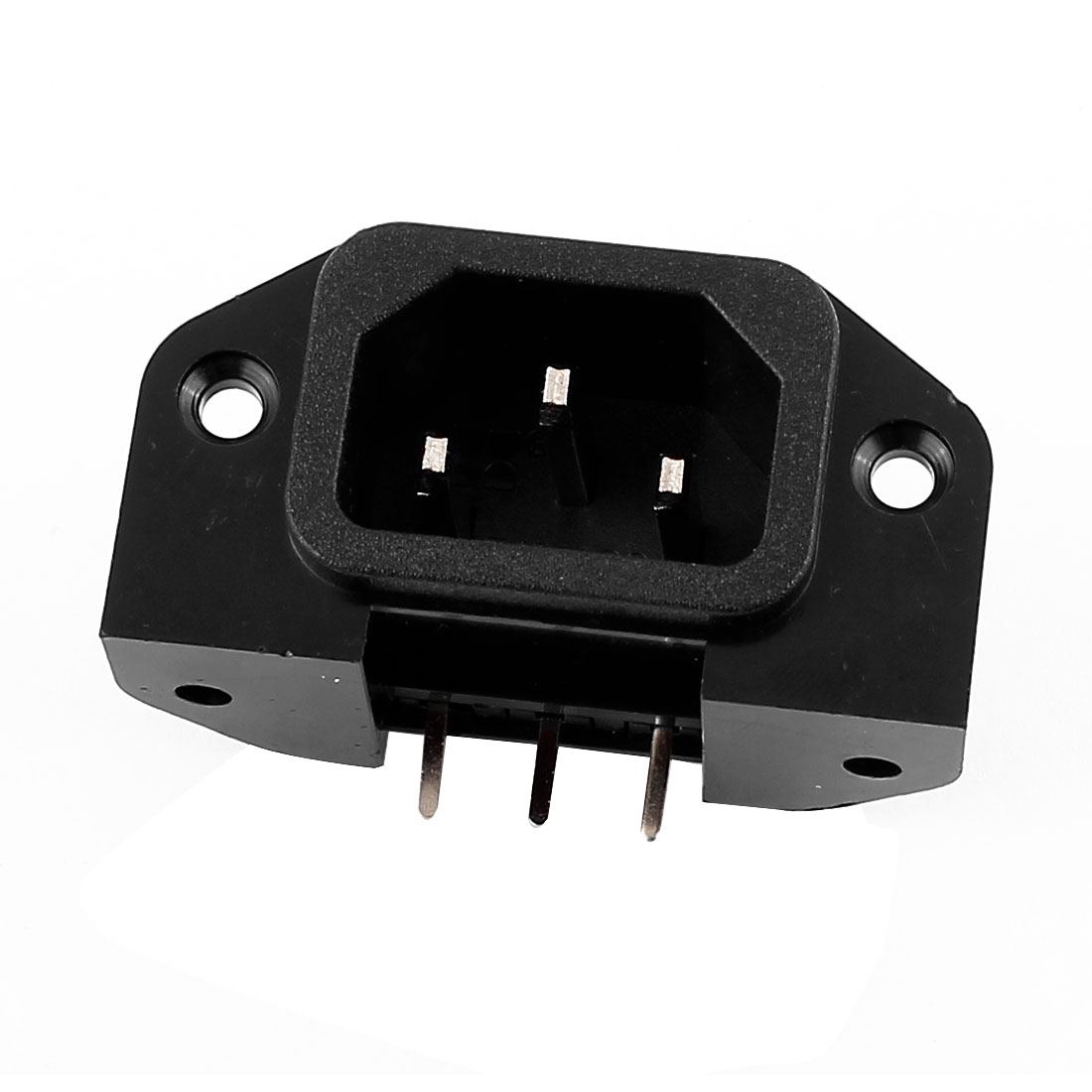 250VAC 15A 3 Terminals Screw Mounted IEC320 C14 Inlet Power Socket Black