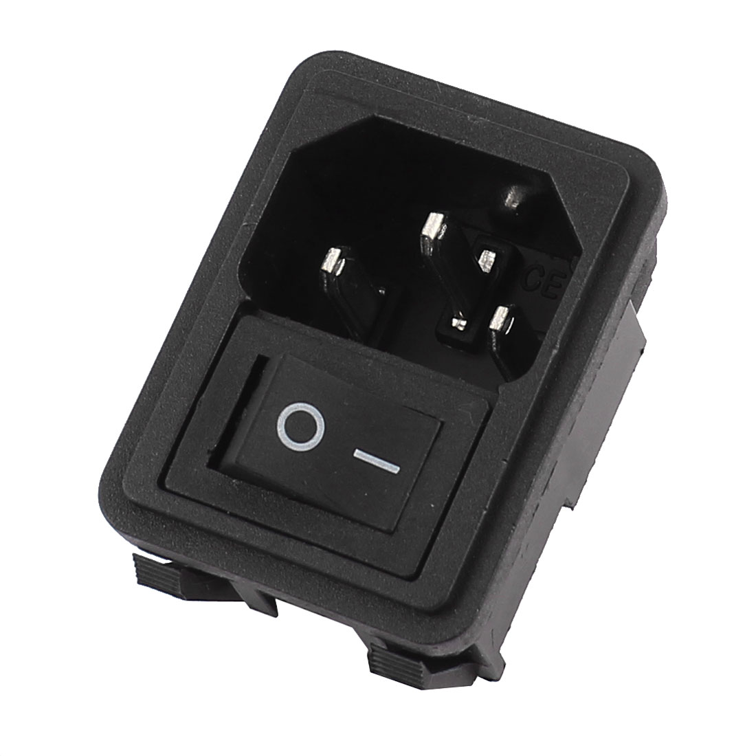 AC 250V 10A 2 Terminals Black On-Off Rocker Switch Inlet Power Socket