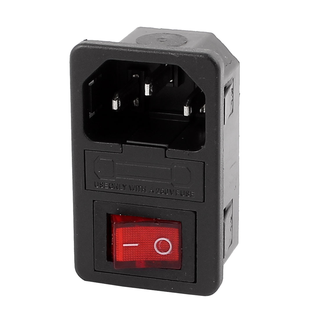 AC 250V 10A 3 Terminals Red LED Rocker Switch Inlet Power Socket w Fuse Holder