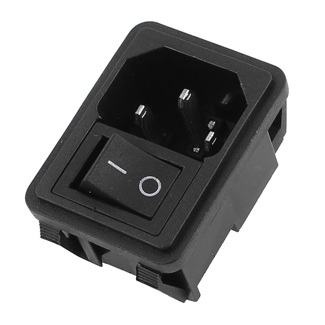 AC 250V 10A 4 Terminals Black On-Off Rocker Switch Inlet Power Socket