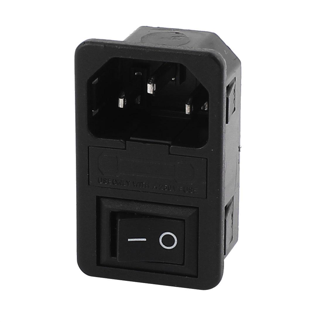 AC 250V 10A 3 Terminals Black Rocker Switch I/O Inlet Power Socket w Fuse Holder
